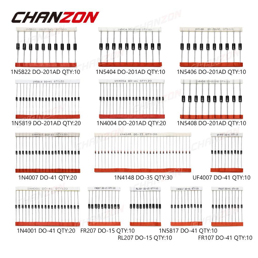 200 piezas de cambio r pido diodo Schottky surtido 1N4001 1N4004 1N4007 1N5408 UF4007 FR207 1N5817 1