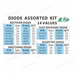 200 piezas de cambio r pido diodo Schottky surtido 1N4001 1N4004 1N4007 1N5408 UF4007 FR207 1N5817 3