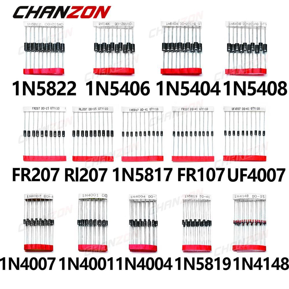 200 piezas de cambio r pido diodo Schottky surtido 1N4001 1N4004 1N4007 1N5408 UF4007 FR207 1N5817