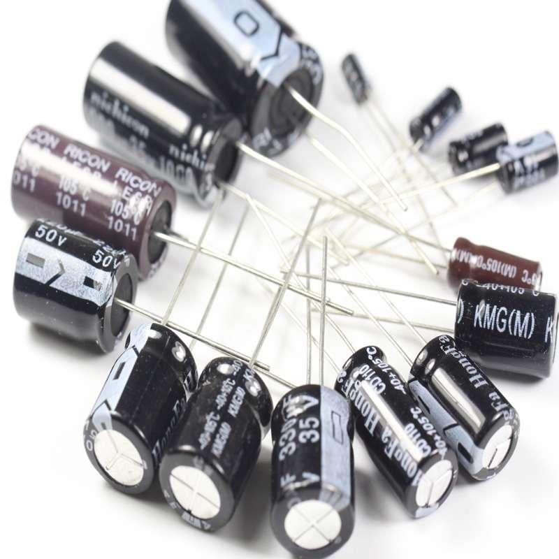 Conjunto de 120 unids 12 valor 0 22 UF 470 UF condensador electrol tico de Aluminio