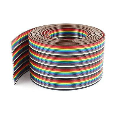 10ft 40 manera 40 Pin cinta plana del Color del arco iris Cable IDC 1 27mm