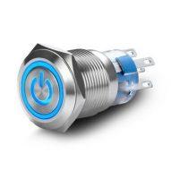Switch ON OFF retroiluminado Blanco /Azul con símbolo
