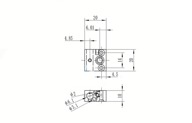 Bloque de aluminio de calor CR10 20x20x10mm