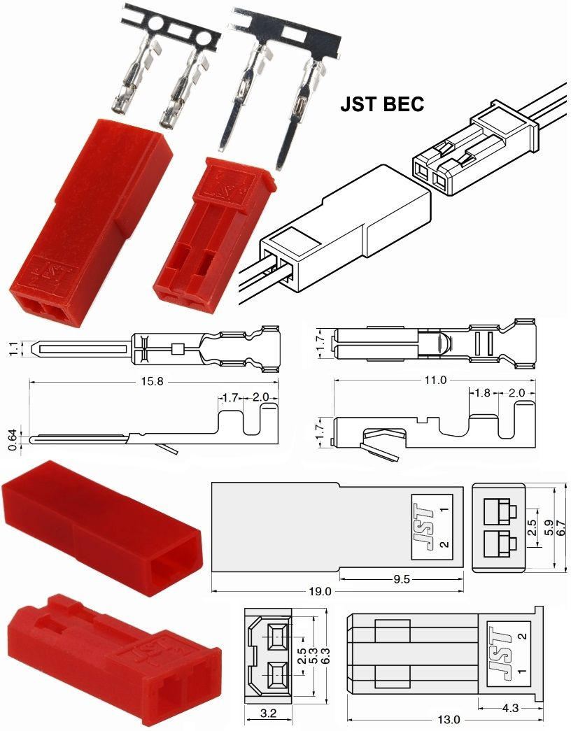 Cable conector macho y hembra JST 10 cm 2 pines
