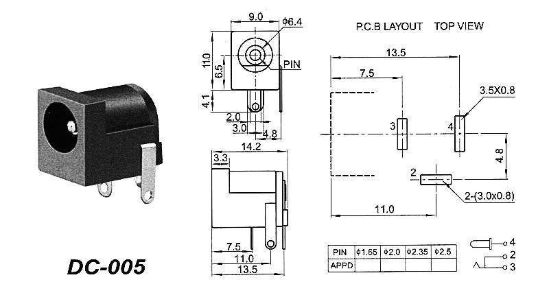 Conector de toma de corriente negro Jack DC hembra